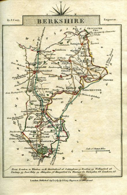 Berkshire County Map by John Cary 1790 - Reproduction